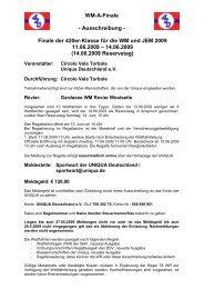 Ausschreibung WM-A-Finale - Uniqua Deutschland