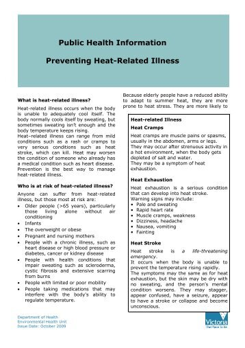 Department of Health Fact Sheet - Preventing Heat-Related Illness