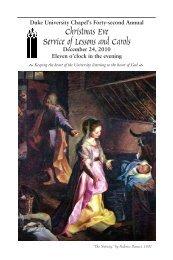 Christmas Eve Service of Lessons and Carols - Duke University