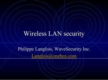 Wireless LAN security - OSSIR