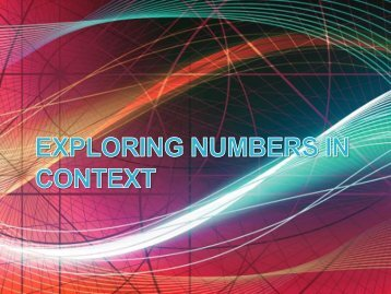 Exploring Numbers in context - Project Maths