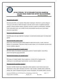 FTR ABD'na Özgü Romatoid Artrit Bilgilendirme Formu