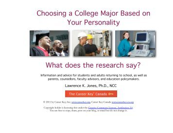 Choosing a College Major Based on Your Personality - Career Key ...