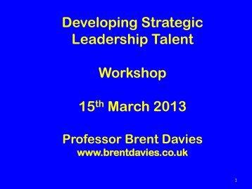 Developing Strategic Leadership Talent Workshop 15th March ... - Avs