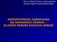 Prof. dr Danilo Tomić, predsednik UO Društva agrarnih ekonomista ...