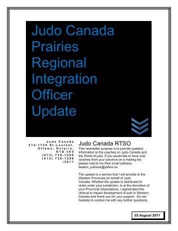 Judo Canada Prairies Regional Integration Officer Update - Judo BC