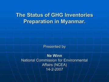 The Status of GHG Inventories Preparation in Myanmar [PDF: 97KB]