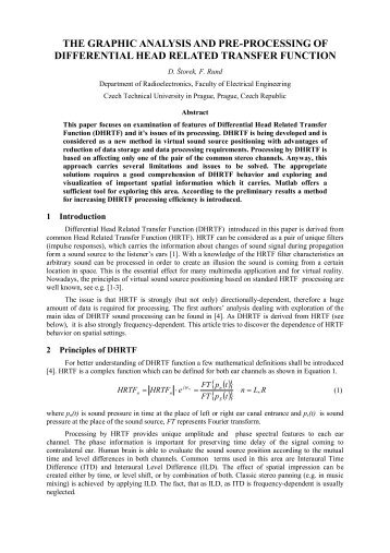the graphic analysis and pre-processing of differential ... - Humusoft