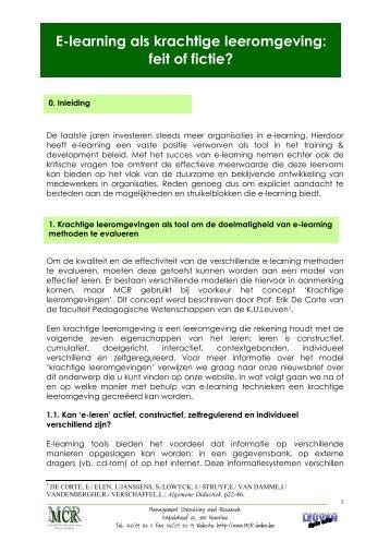 Nieuwsbrief E-leren in een krachtige leeromgeving - Mcr Bvba