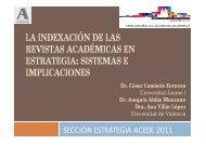 la indexación de las revistas académicas en estrategia - ACEDE