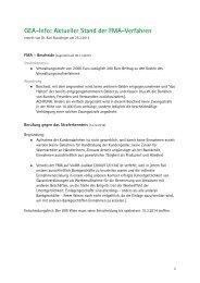 GEA-Info: Aktueller Stand der FMA-Verfahren