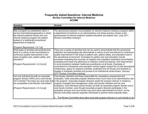 Internal Medicine FAQs - acgme