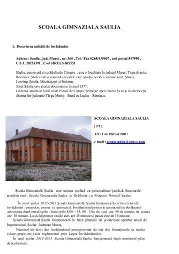 scoala gimnaziala saulia1 - Inspectoratul Şcolar Judeţean Mureş