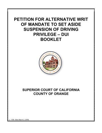 PETITION FOR ALTERNATIVE WRIT OF - Superior Court