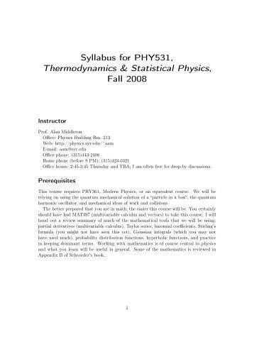 mit opencourseware physics thermodynamics Professor of physics, university of illinois: philip w phillips course homepage: 560 thermodynamics & kinetics spring 2008 course features at mit opencourseware.