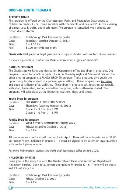Fall & Winter 2011 – 2012 - City of Charlottetown