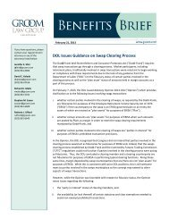 DOL Issues Guidance on Swap Clearing Process - Groom Law Group