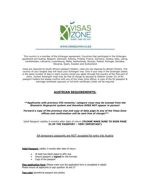 Requirements Visas Zone