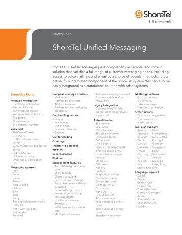 ShoreTel Unified Messaging Specs
