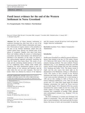 Fossil insect evidence for the end of the Western Settlement in ...