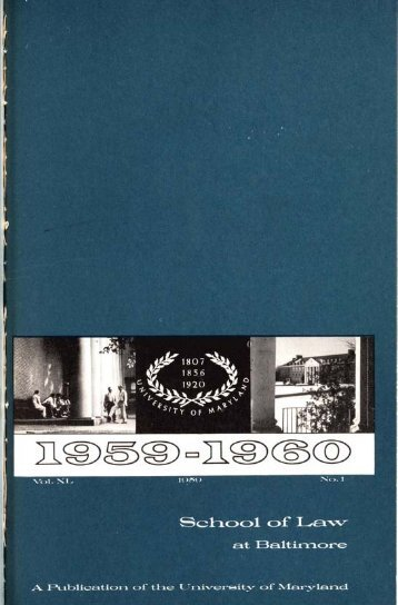 University of Maryland School of Law : Catalog, 1959-1960