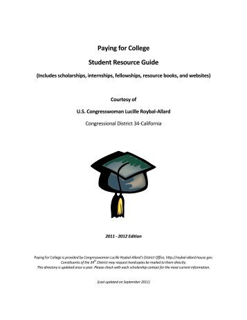 Paying for College Student Resource Guide - Congresswoman ...