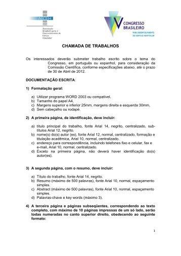 CHAMADA DE TRABALHOS - ITpack