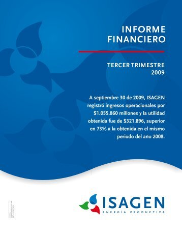 Informe financiero a septiembre - Isagen