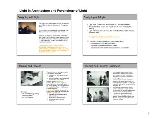 Light In Architecture and Psychology of Light - RS Lighting ... on