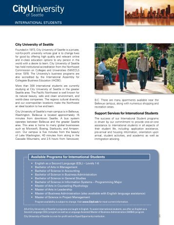 City University of Seattle Brochure - Oceanic Consultants