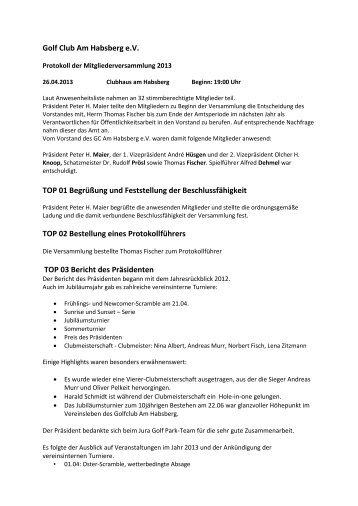 Protokoll der Mitgliederversammlung vom 26.04.2013 - Jura Golf Park