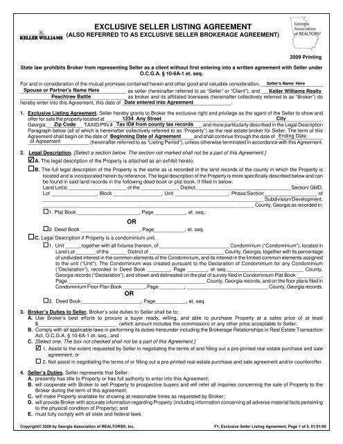 Exclusive Seller Listing Agreement Keller Williams Realty