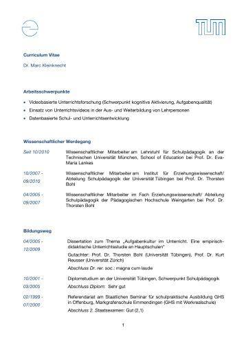 tabellarischer lebenslauf lehrstuhl fr schulpdagogik - Schriftgre Lebenslauf