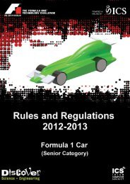 Rules and Regulations - F1 in Schools