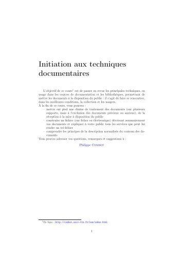 Initiation aux techniques documentaires - Catalogue des ressources ...