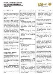 Händler-Partnerinformation Ausgabe Januar 2011