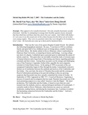 "Dr. David Van Nuys, aka ""Dr. Dave"" interviews ... - Shrink Rap Radio"