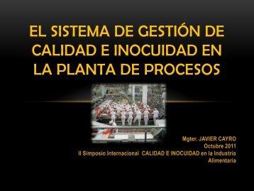 El Sistema de gestión de calidad e inocuidad en la planta de procesos