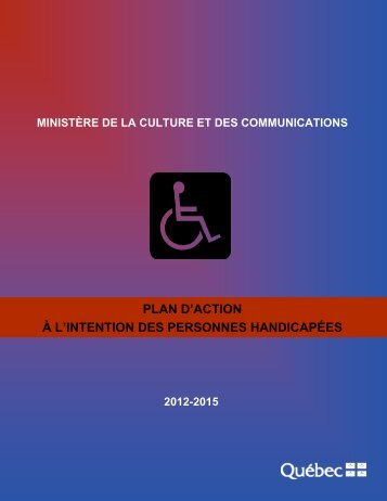 Plan d'action 2012-2015 à l'intention des personnes handicapées