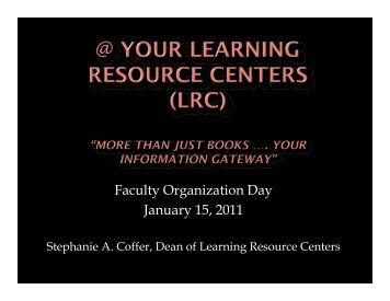 Learning Resource Center - Wayne County Community College