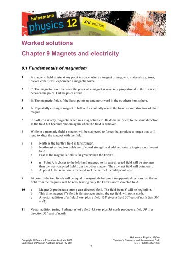 Worked solutions Chapter 9 Magnets and electricity - PEGSnet