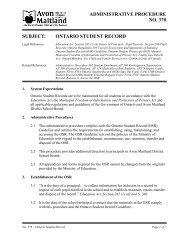 Ontario Student Record - Avon Maitland District School Board