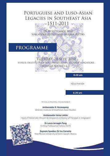 Conference programme - Nalanda-Sriwijaya Centre - iseas