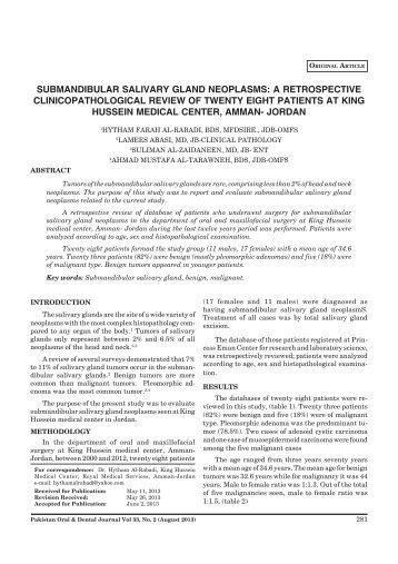 submandibular salivary gland neoplasms - Pakistan Oral and Dental ...