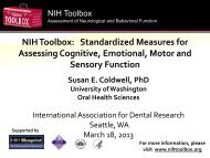 NIH Toolbox: Standardized Measures for Assessing Cognitive ...