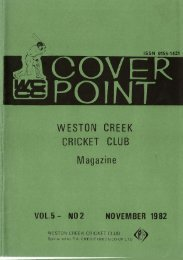 WESTON CREEK CRICKET CLUB Magazine VOL.5- NO2 ...
