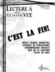 Volume 1, n° 4 - Faculté de musique - Université Laval