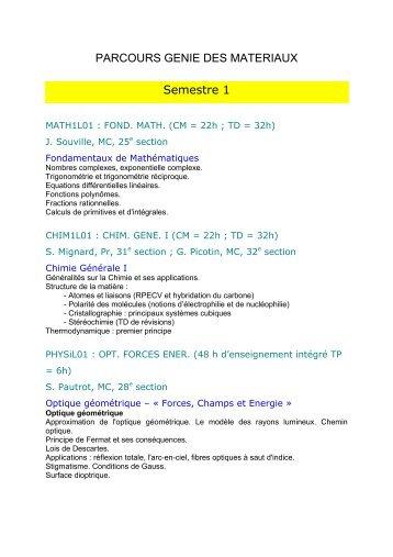 contenu des enseignements - Faculté de Sciences Fondamentales ...