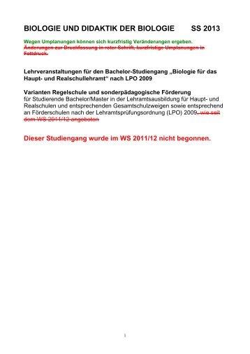 biologie und didaktik der biologie ss 2013 - Biologie TU Dortmund