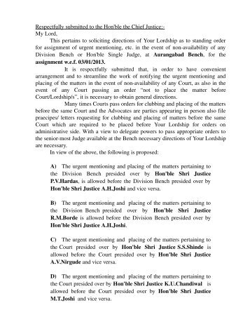 Respectfully submitted to the Hon'ble the Chief Justice: My Lord ...